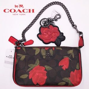COACH Red Rose 🌹 Floral Logo Wristlet & Bag Charm